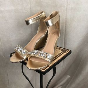 New York & Company | Jeweled Wedges | Gold | 8.5